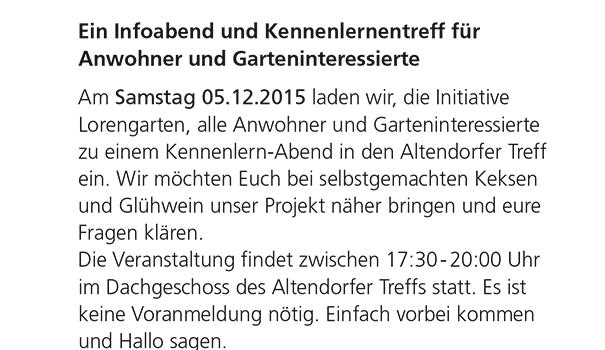 Der Lorengarten in Altendorf lädt zum Infoabend am 5.12.2015