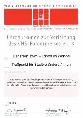 VHS Förderpreis 2013
